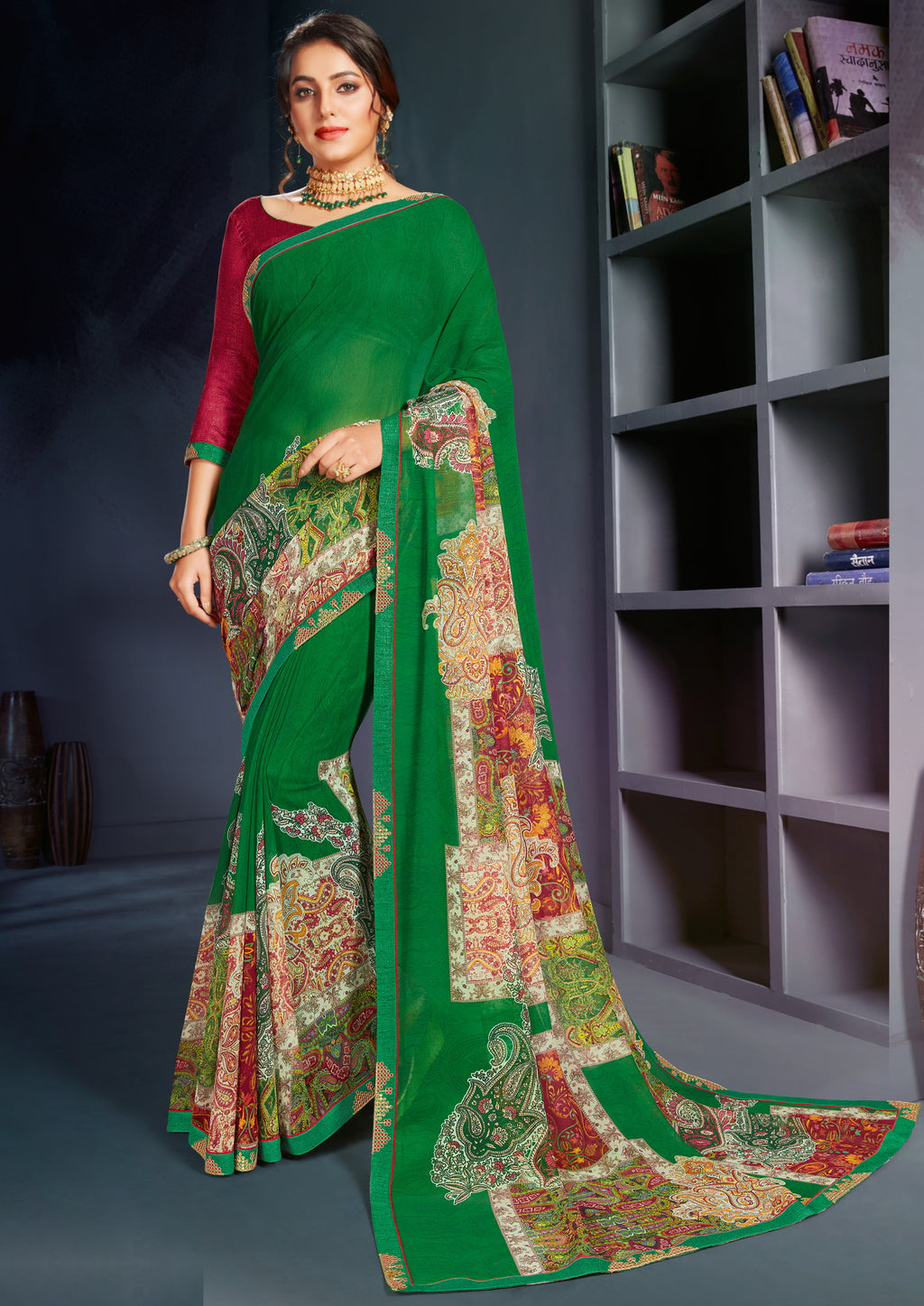 Green Color Georgette Printed Office Wear Sarees NYF-4500