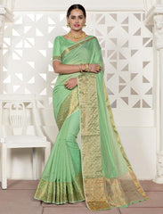 Pearl Green Color Blended Cotton Festival & Function Wear Sarees : Virani Collection  YF-53370