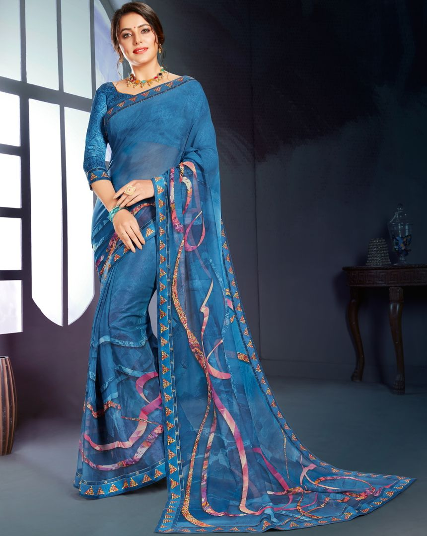 Blue Color Georgette Printed Office Wear Sarees NYF-4501