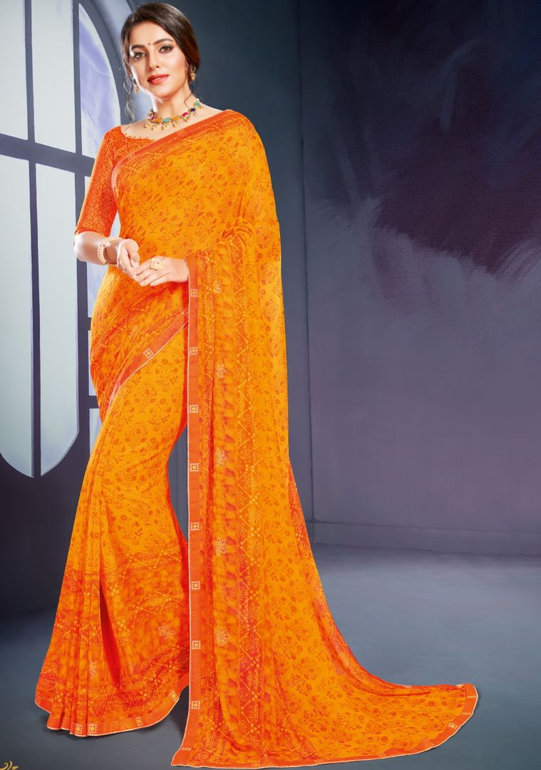 Orange Color Georgette Printed Office Wear Sarees NYF-4502
