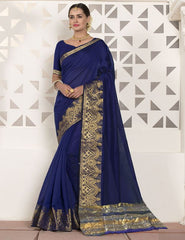 Ink Blue Color Blended Cotton Festival & Function Wear Sarees : Virani Collection  YF-53371