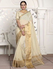 Off White Color Blended Cotton Festival & Function Wear Sarees : Virani Collection  YF-53372