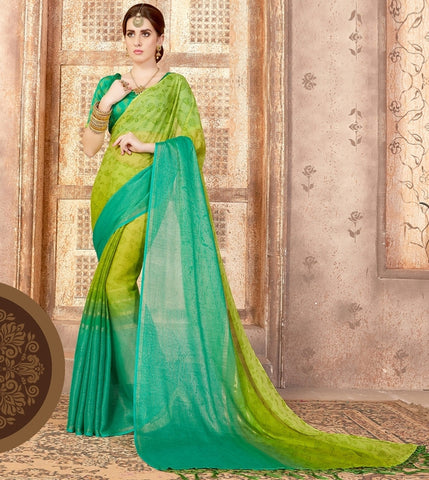 Green & Yellow Color Georgette Casual Wear Sarees : Samyan Collection  YF-47375