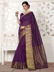 Magenta Color Blended Cotton Festival & Function Wear Sarees : Virani Collection  YF-53373
