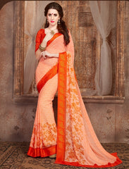 Peach & Orange Color Georgette Casual Wear Sarees : Samyan Collection  YF-47376