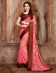 Pink & Brown Color Georgette Casual Wear Sarees : Samyan Collection  YF-47377