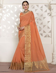 Orange Color Blended Cotton Festival & Function Wear Sarees : Virani Collection  YF-53374