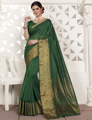 Green Color Blended Cotton Festival & Function Wear Sarees : Virani Collection  YF-53375