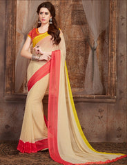 Cream Color Georgette Casual Wear Sarees : Samyan Collection  YF-47378