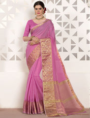 Pink Color Blended Cotton Festival & Function Wear Sarees : Virani Collection  YF-53376