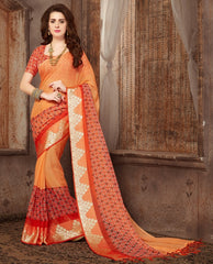 Orange Color Wrinkle Chiffon Casual Wear Sarees : Samyan Collection  YF-47380