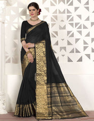 Black Color Blended Cotton Festival & Function Wear Sarees : Virani Collection  YF-53377