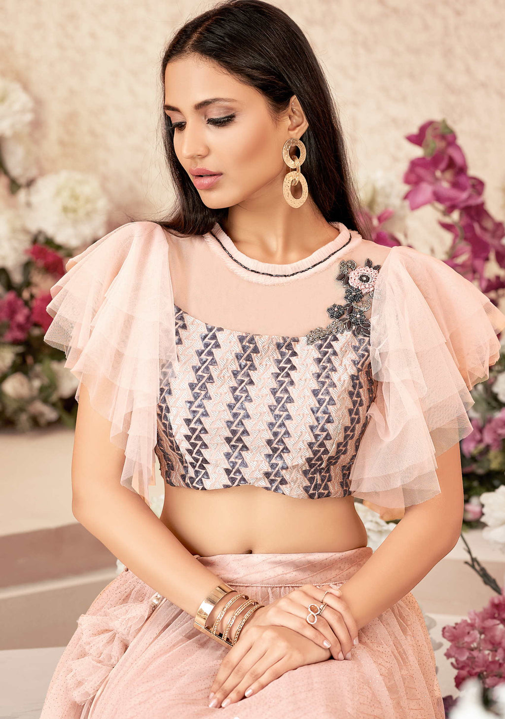 Pink Color Net Trendy Party Wear Lehengas NYF-4881