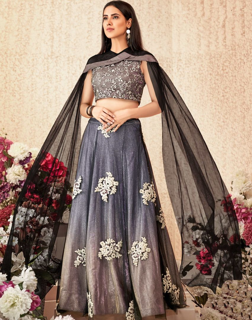 Grey Color Net & Shimmer Lycra Trendy Party Wear Lehengas NYF-4882