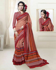 Red, Orange & Brown Color Linen Cotton Silk Casual Function Sarees : Prasiddhi Collection  YF-40297