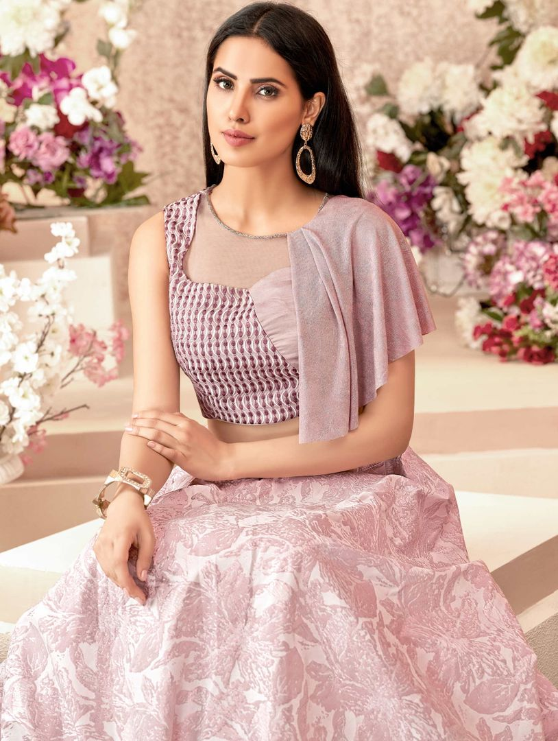 Pink Color Jacquard Silk Trendy Party Wear Lehengas NYF-4883