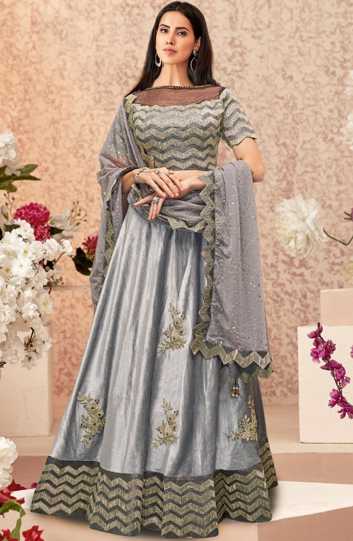 Grey Color Velvet Trendy Party Wear Lehengas NYF-4884