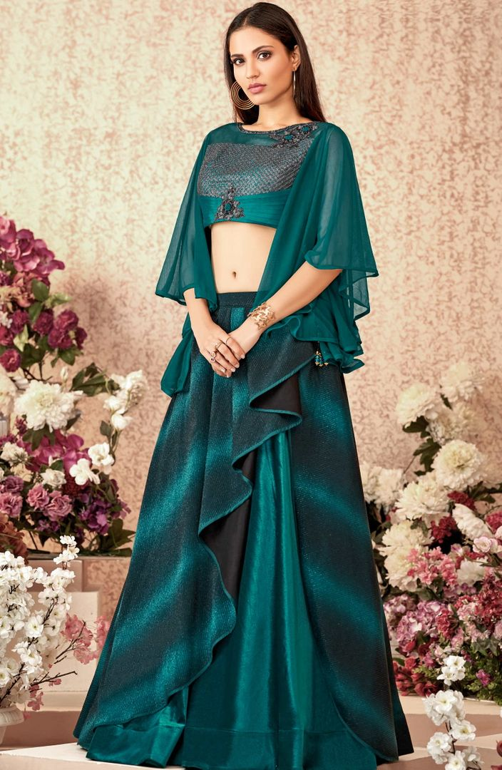 Rama Green Color Fancy Lycra Trendy Party Wear Lehengas NYF-4886