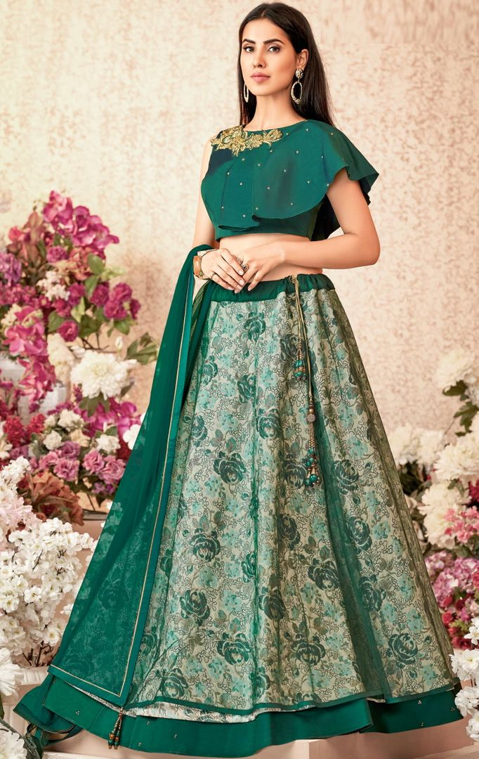 Emerald Green Color Jacquard Silk & Net Trendy Party Wear Lehengas NYF-4887