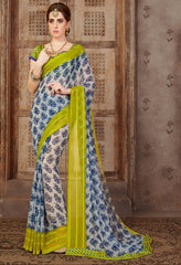 Blue Color Georgette Casual Wear Sarees : Samyan Collection  YF-47381