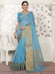 Firozi Color Blended Cotton Festival & Function Wear Sarees : Virani Collection  YF-53378