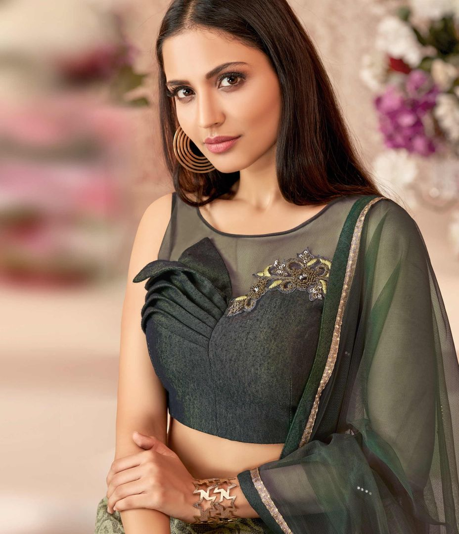 Olive Green Color Fancy Velvet Trendy Party Wear Lehengas NYF-4891