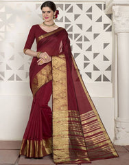 Maroon Color Blended Cotton Festival & Function Wear Sarees : Virani Collection  YF-53379
