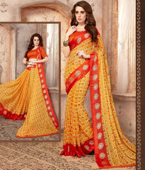 Yellow & Red Color Georgette Casual Wear Sarees : Samyan Collection  YF-47382