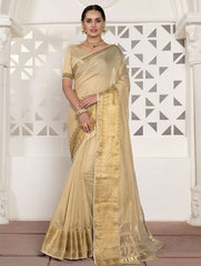 Cream Color Blended Cotton Festival & Function Wear Sarees : Virani Collection  YF-53380