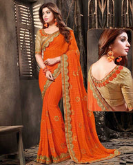 Orange Color Chiffon Designer Festive Sarees : Diya-Baati Collection  YF-52169
