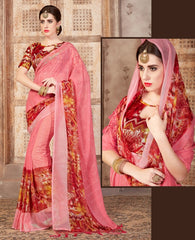 Pink Color Georgette Casual Wear Sarees : Samyan Collection  YF-47383