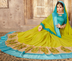 Mehendi Green Color Georgette Casual Wear Sarees : Samyan Collection  YF-47384