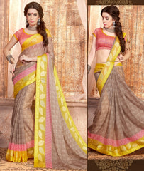 Light Brown Color Georgette Casual Wear Sarees : Samyan Collection  YF-47385
