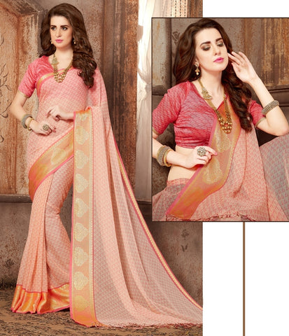 Baby Pink Color Georgette Casual Wear Sarees : Samyan Collection  YF-47386