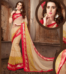 Cream Color Georgette Casual Wear Sarees : Samyan Collection  YF-47387