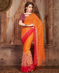 Orange Color Georgette Casual Wear Sarees : Samyan Collection  YF-47388