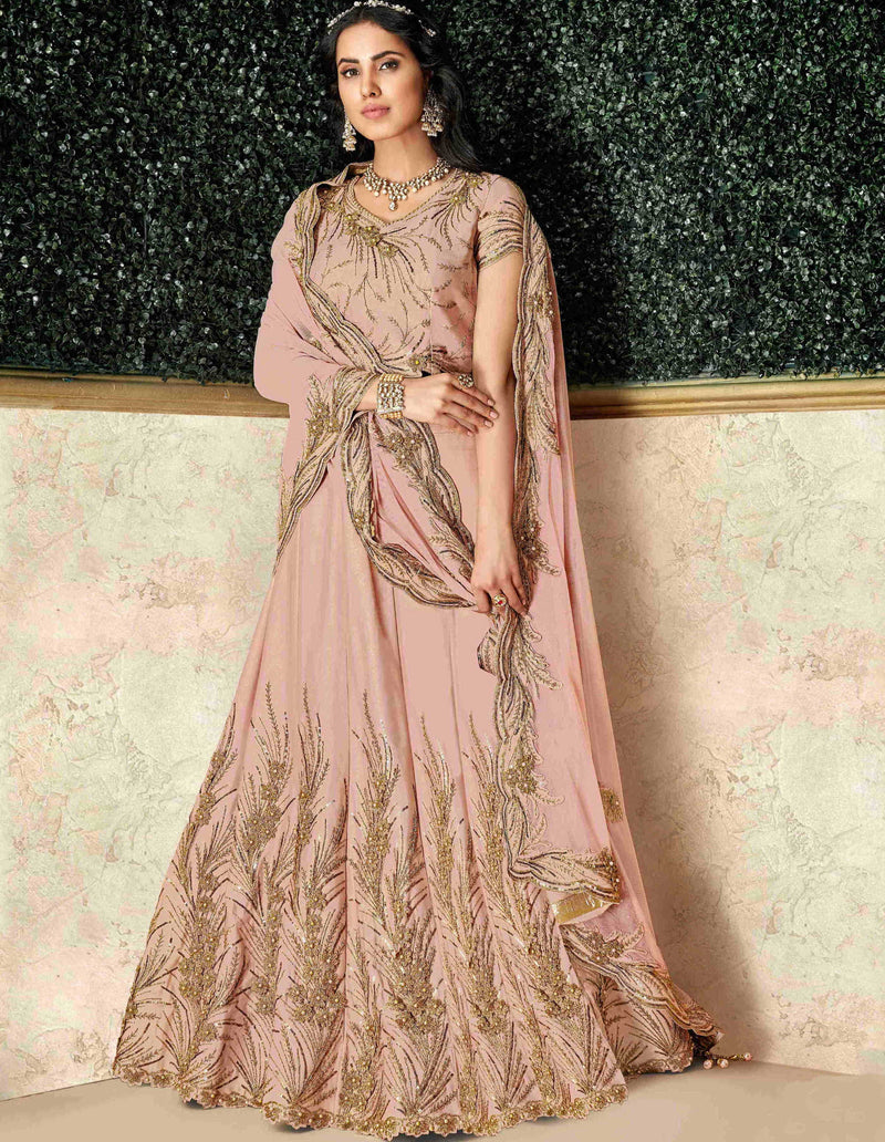 Pink Color Dual Tone Taffeta Silk Pretty Marriage Functions Lehengas NYF-4894