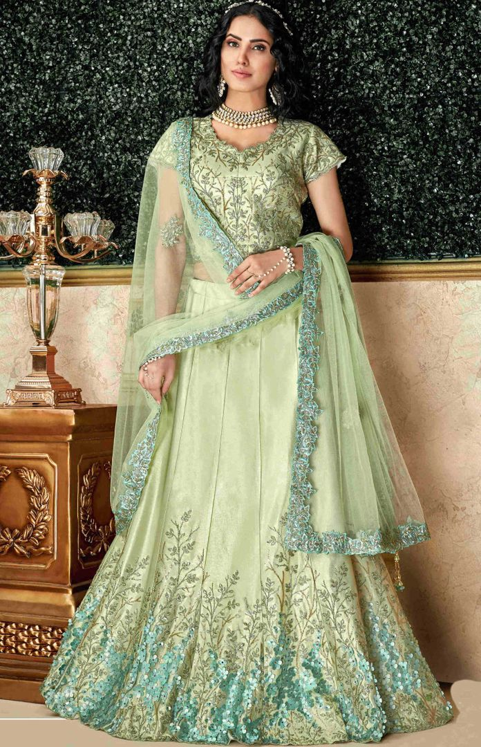 Pastel green Color Dual Tone Taffeta Silk Pretty Marriage Functions Lehengas NYF-4895