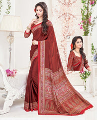 Maroon Color Crepe Office Wear Sarees : Arvika Collection  YF-49944