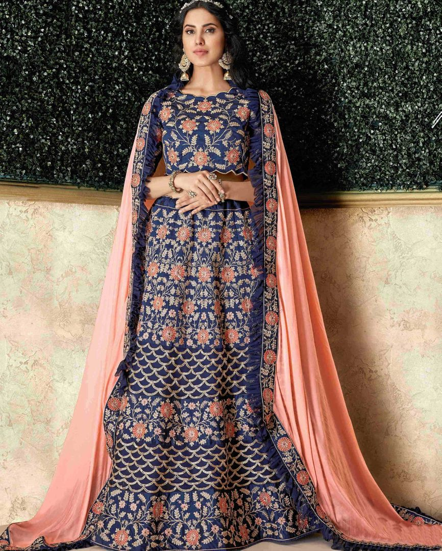 Blue Color Raw Silk Pretty Marriage Functions Lehengas NYF-4896