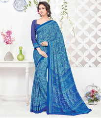 Blue Color Crepe Office Wear Sarees : Arvika Collection  YF-49945