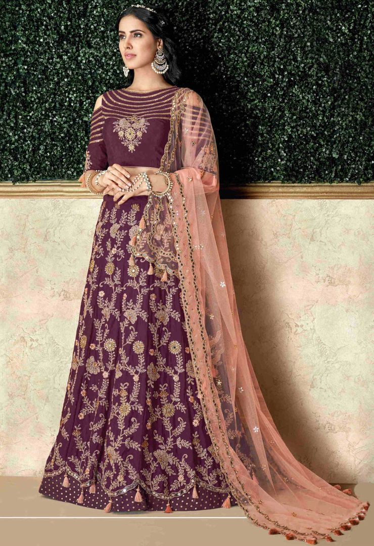 Purple Color Silk Pretty Marriage Functions Lehengas NYF-4897