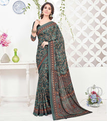 Green Color Crepe Office Wear Sarees : Arvika Collection  YF-49946