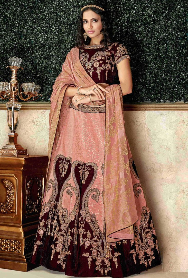 Pink Color Brocade & Velvet Pretty Marriage Functions Lehengas NYF-4898