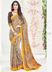 Yellow Color Crepe Office Wear Sarees : Arvika Collection  YF-49947