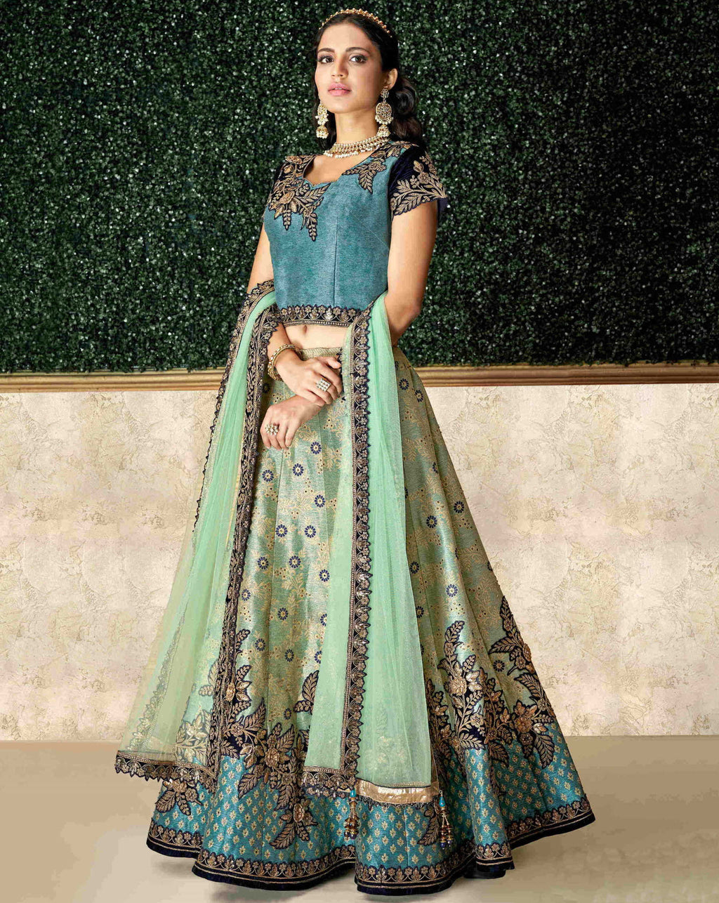 Aqua Green Color Jacquard Silk Pretty Marriage Functions Lehengas NYF-4899