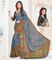 Blue Color Crepe Office Wear Sarees : Arvika Collection  YF-49948
