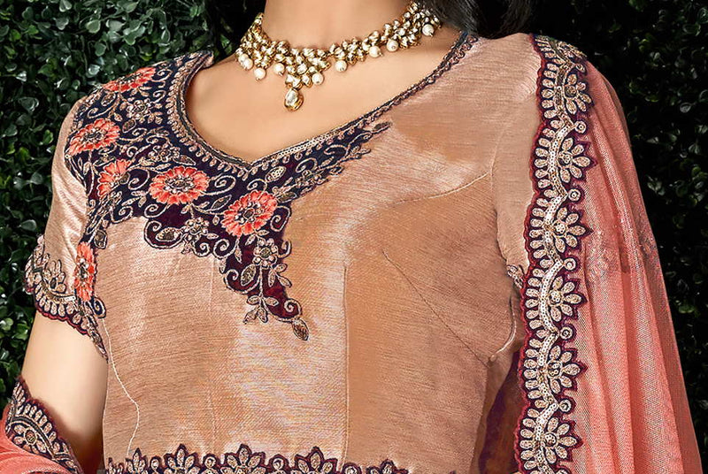 Beige Color Weaved Silk Pretty Marriage Functions Lehengas NYF-4900