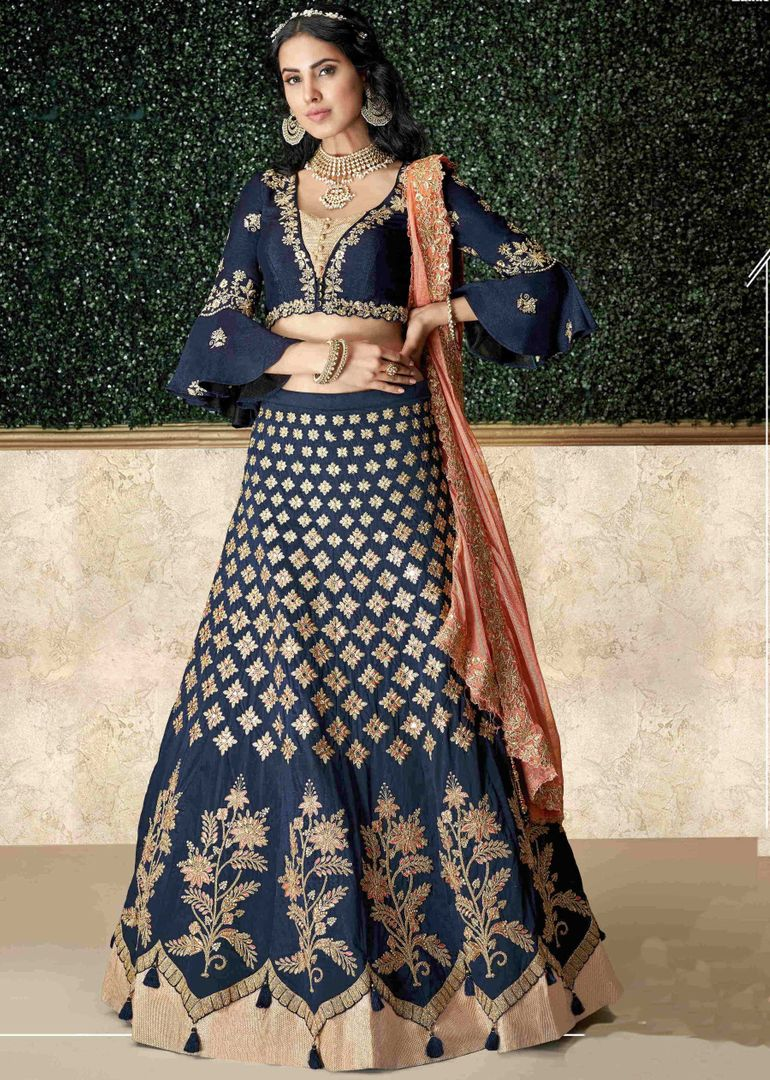 Blue Color Taffeta Silk Pretty Marriage Functions Lehengas NYF-4901