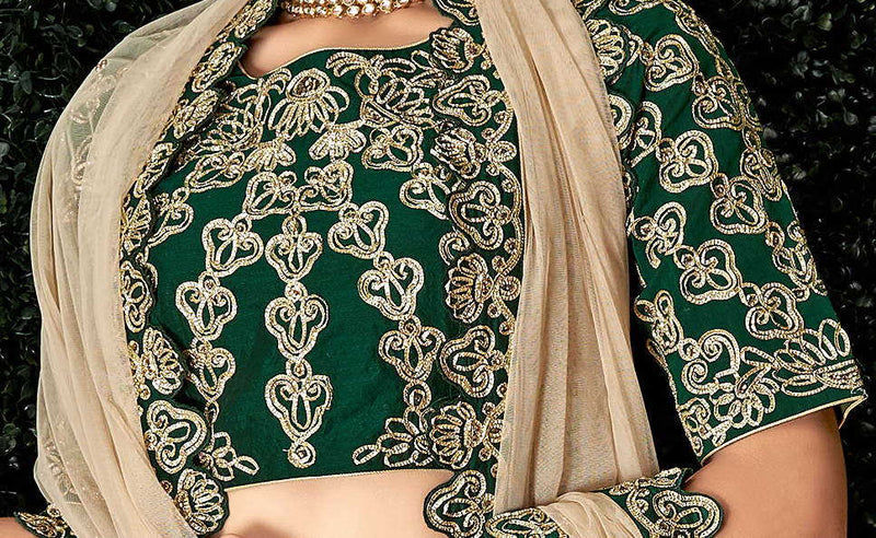 Green Color Satin Silk Pretty Marriage Functions Lehengas NYF-4902